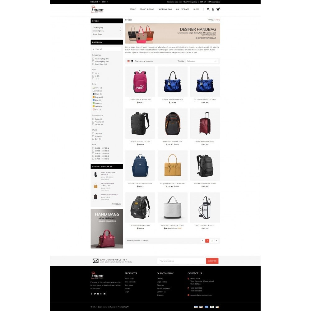 theme - Jewelry & Accessories - Baggage  - Bagstore template - 3
