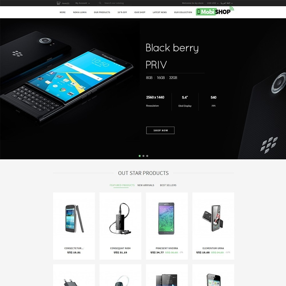 theme - PrestaShop Templates - Mobishop Onestop Mobile Store - 7
