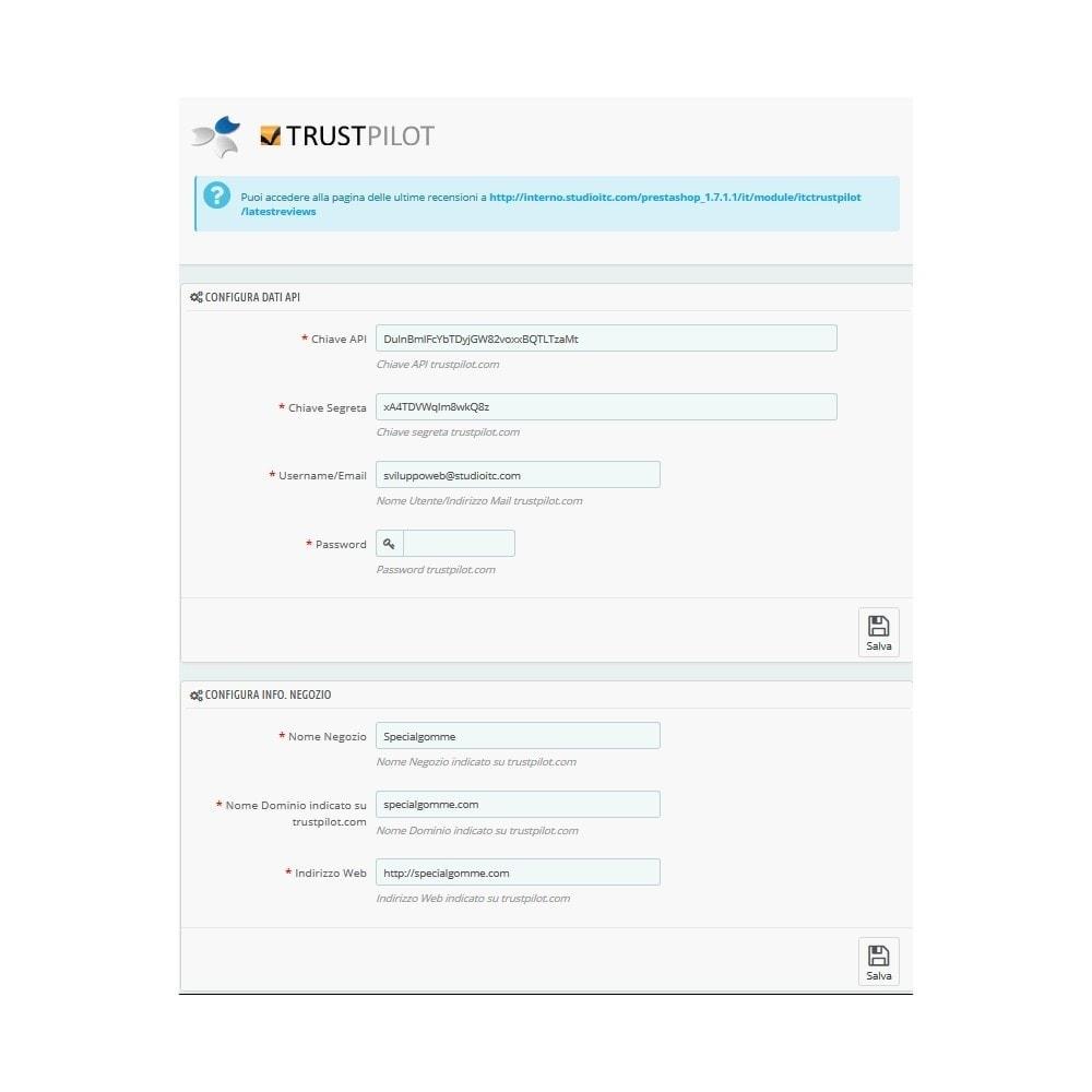 module - Recensioni clienti - ITC TrustPilot Manager - 2