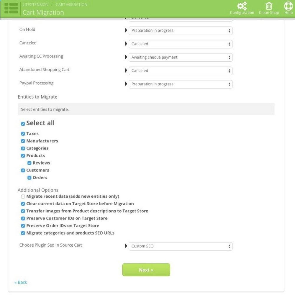 module - Datenmigration & Backup - LitExtension: Loaded Commerce to Prestashop Migration - 4
