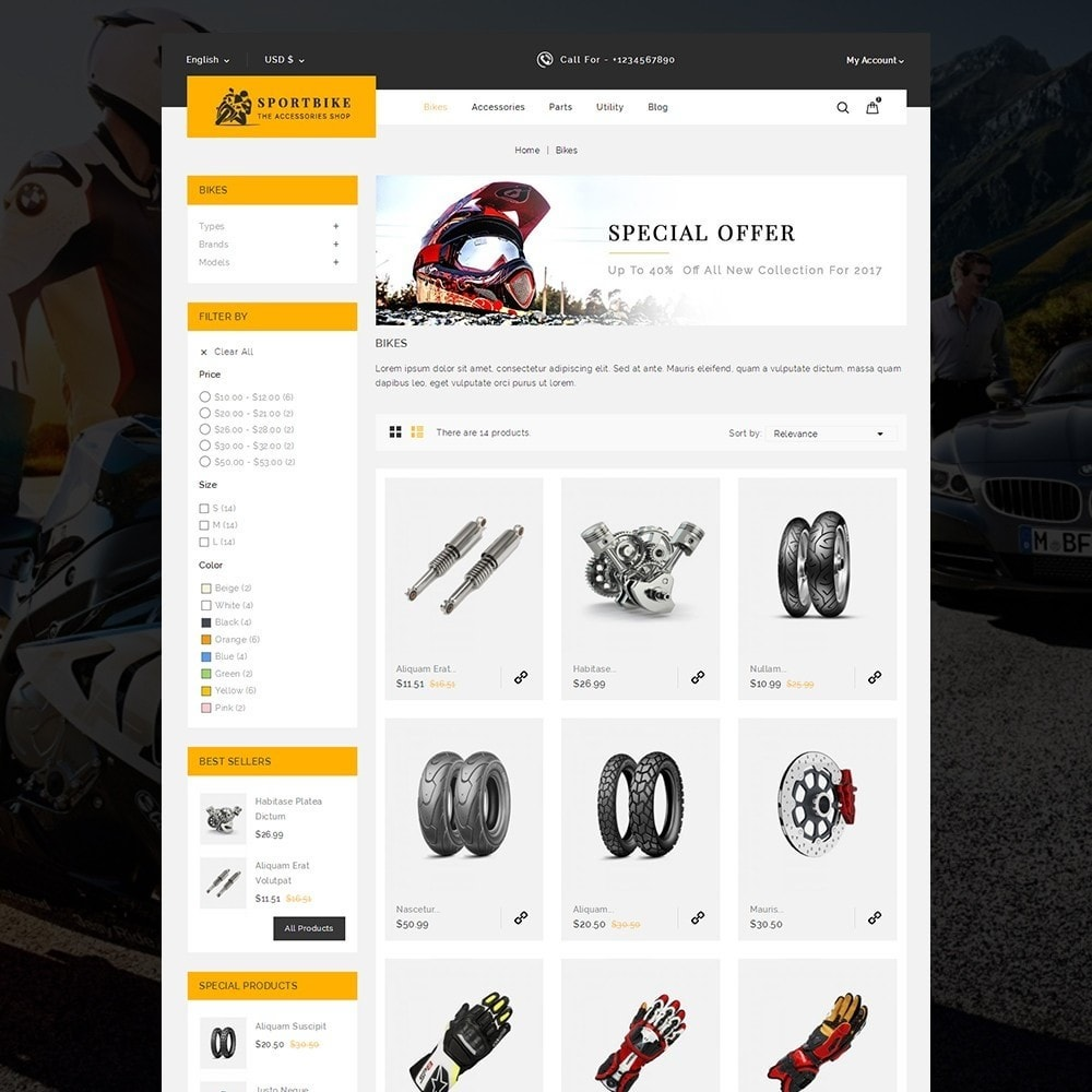 theme - Carros & Motos - Sports Bike Auto Store - 3