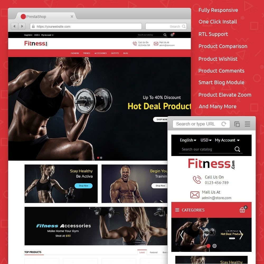 theme - Sport, Loisirs & Voyage - Fitness Store - 1