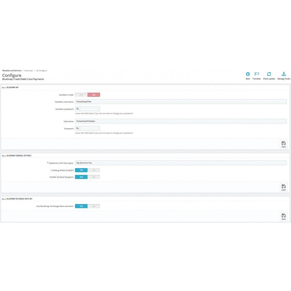 module - Paiement par Carte ou Wallet - BlueSnap - 2