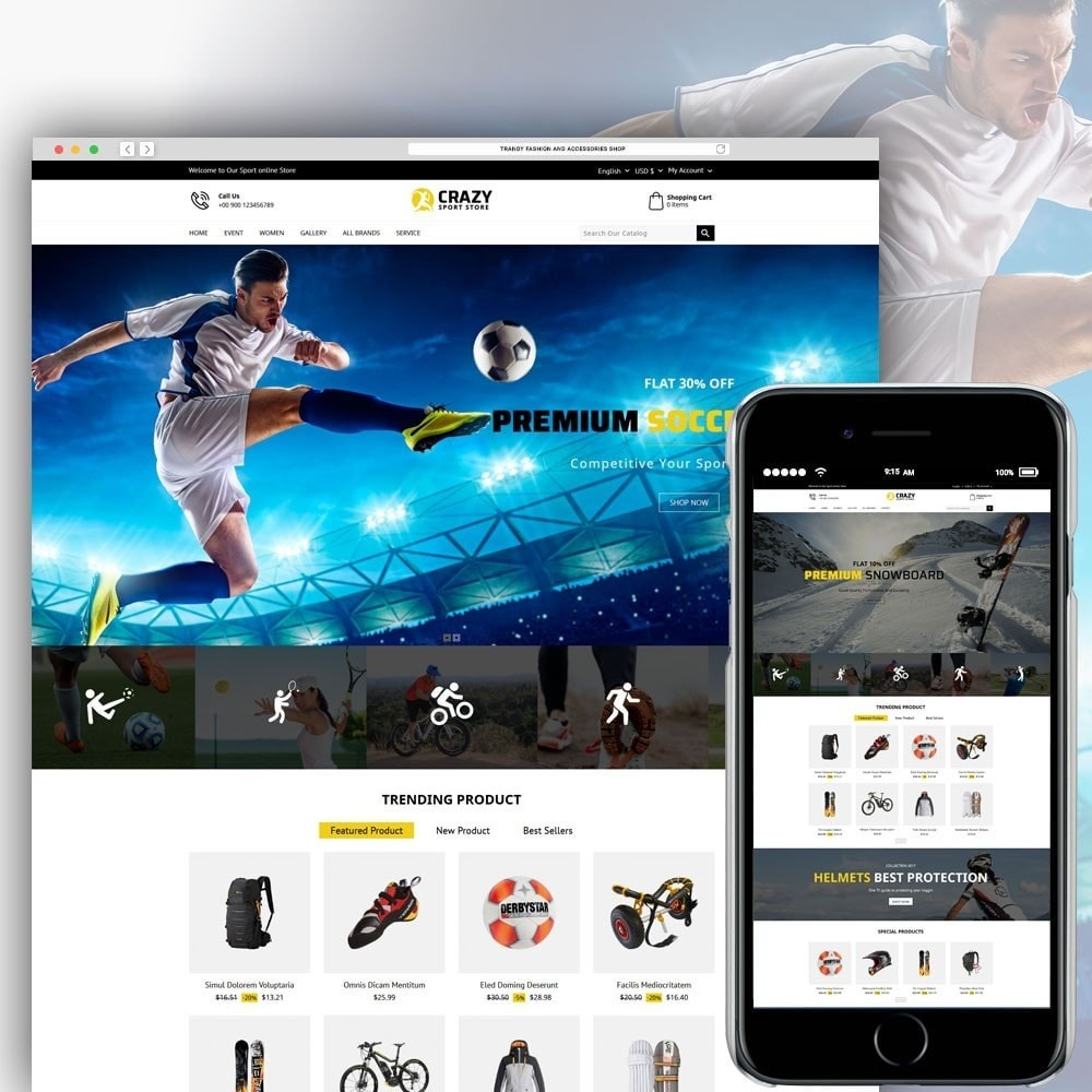 theme - Sport, Loisirs & Voyage - Crazy Sports Store - 1