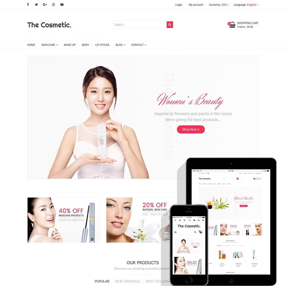 theme - Santé & Beauté - The Cosmetics - Beauty, health and cosmetic store - 1