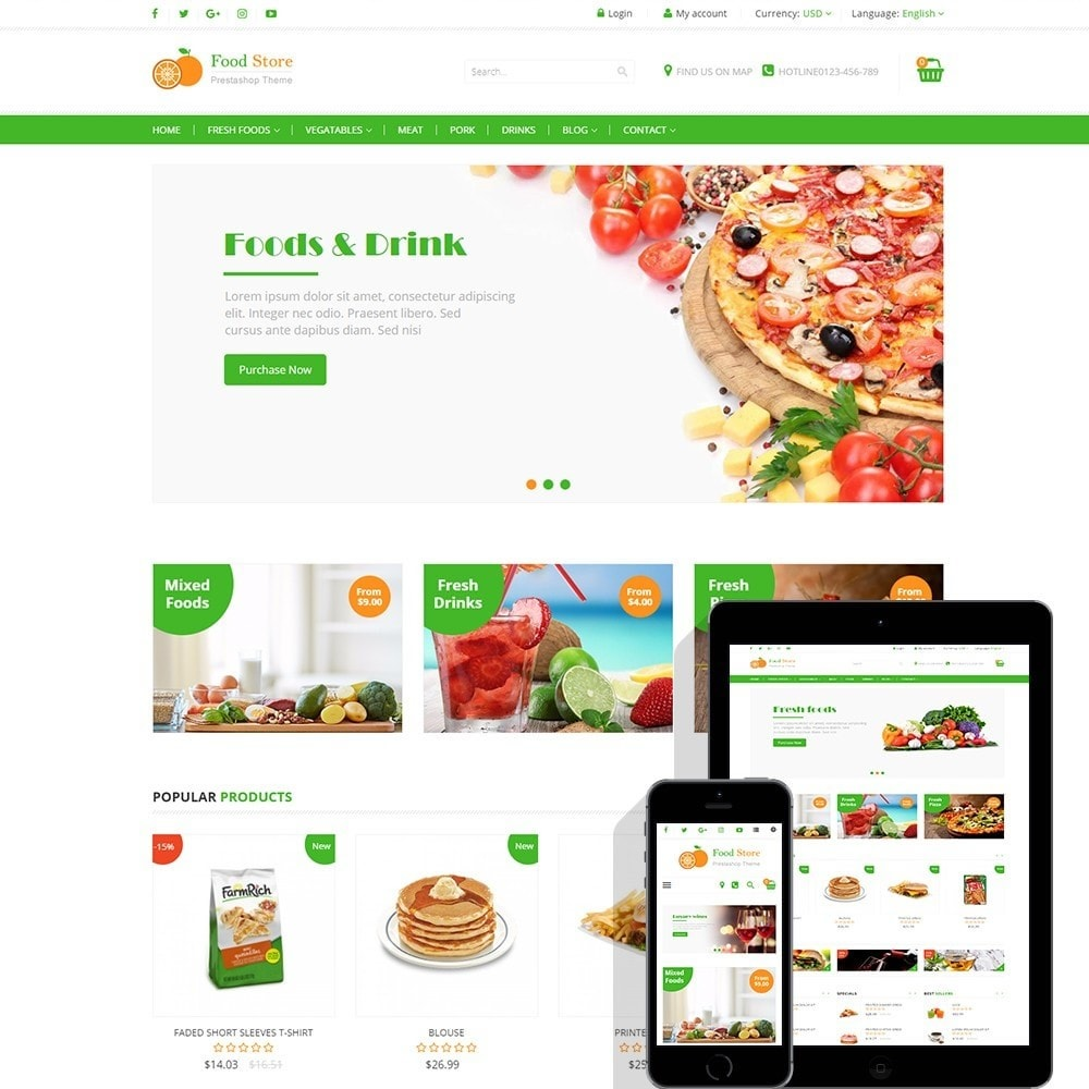 Food store - Fresh foods,  drinks and fruit store