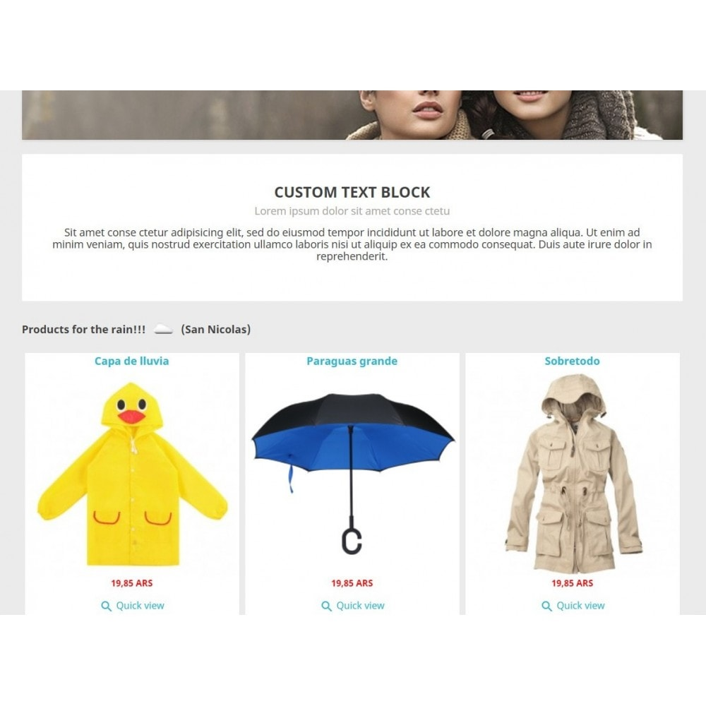 module - Personnalisation de Page - Products by weather - 2