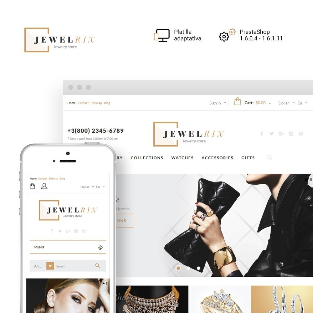 theme - Moda y Calzado - Jewelrix - para Sitio de Joyería - 1
