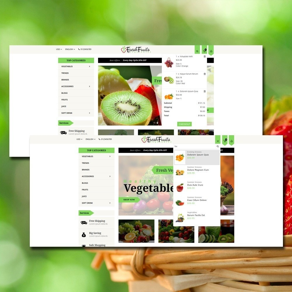 theme - Alimentation & Restauration - Fruits & Vegetables Shop - 3