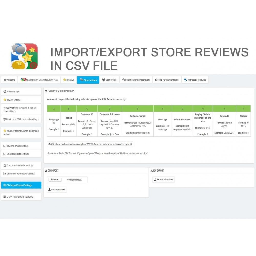 module - SEO - Product, Shop Reviews, Reminder, Profile, Rich Snippets - 46