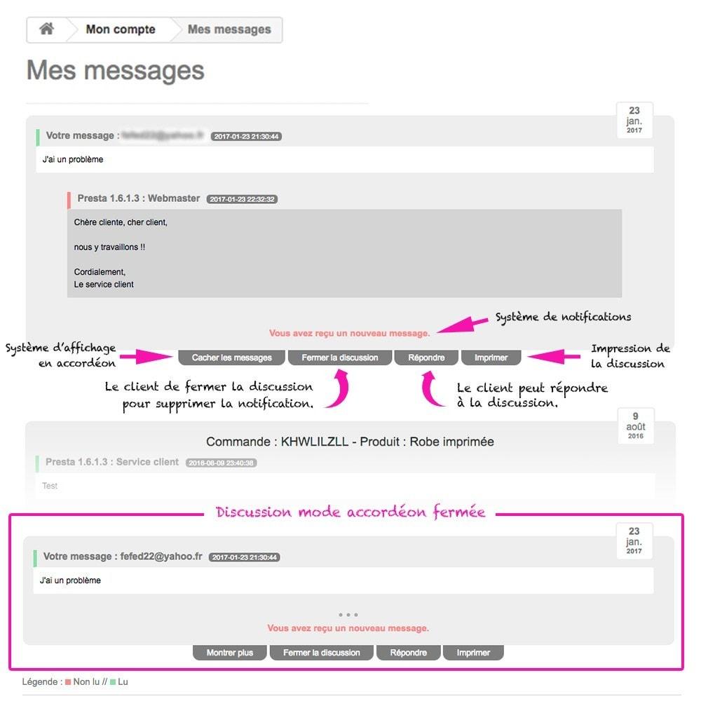 module - Service Client - Afficher les discussions et messages à vos clients - 2