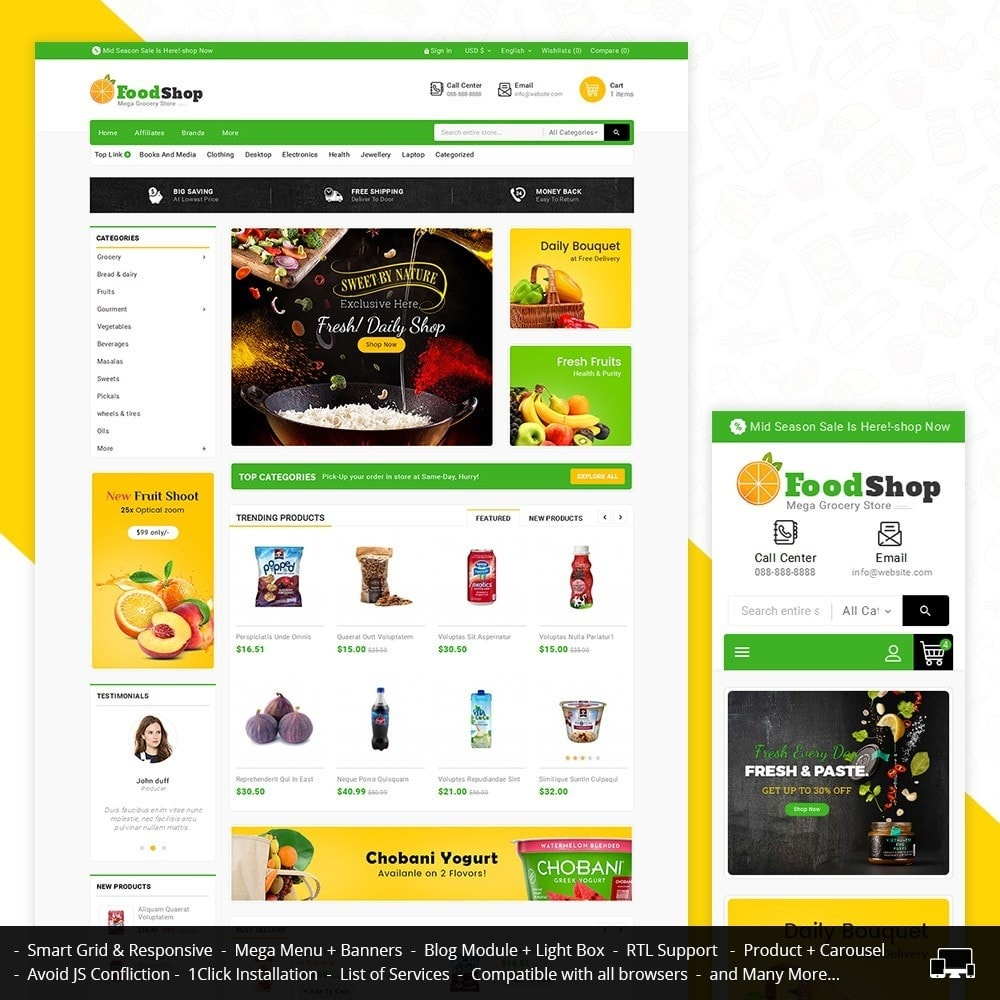 theme - Alimentation & Restauration - Grocery Food Mega Store - 1