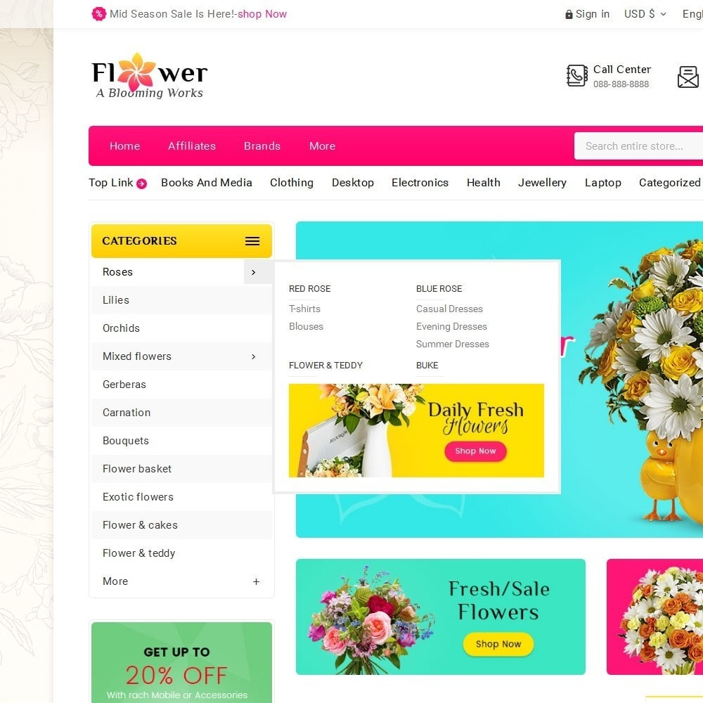 theme - Gifts, Flowers & Celebrations - Blooming Flower Mega Store - 9