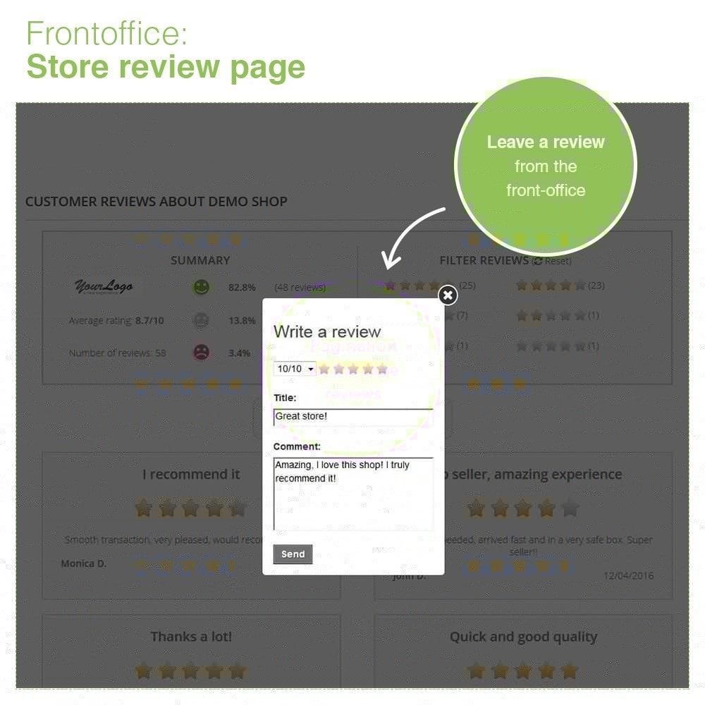 module - Отзывы клиентов - Store Reviews + Product Reviews + Google Rich Snippets - 10