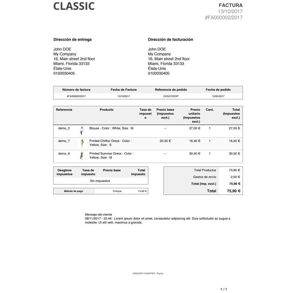 module - Gestión de Pedidos - Mensajes del Cliente en Factura y/o Recibo de Entrega - 3