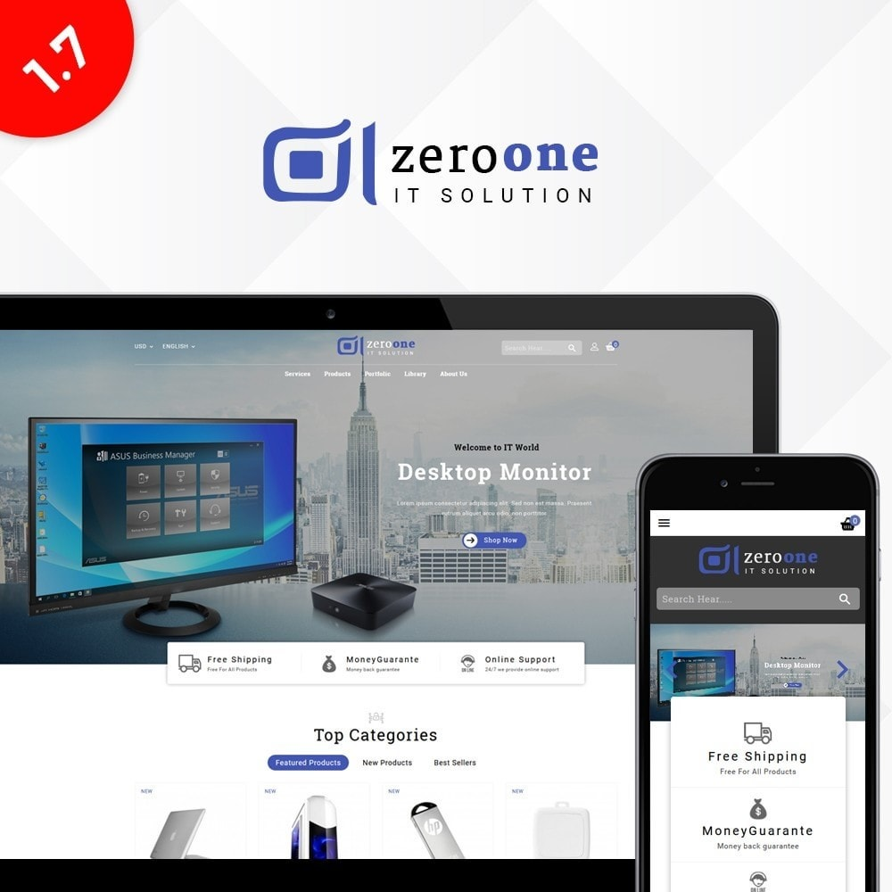 theme - Electronique & High Tech - Zeroone IT-services Store - 1