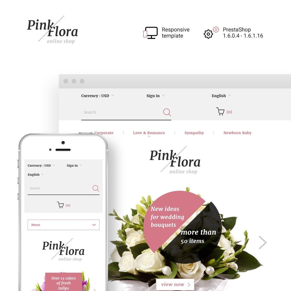 theme - Presentes, Flores & Comemorações - Pink Flora - 1