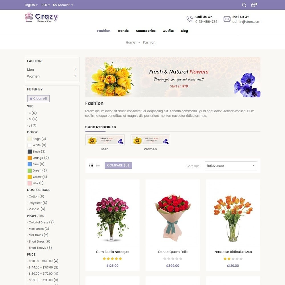 theme - Gifts, Flowers & Celebrations - Crazy Flower Store - 3
