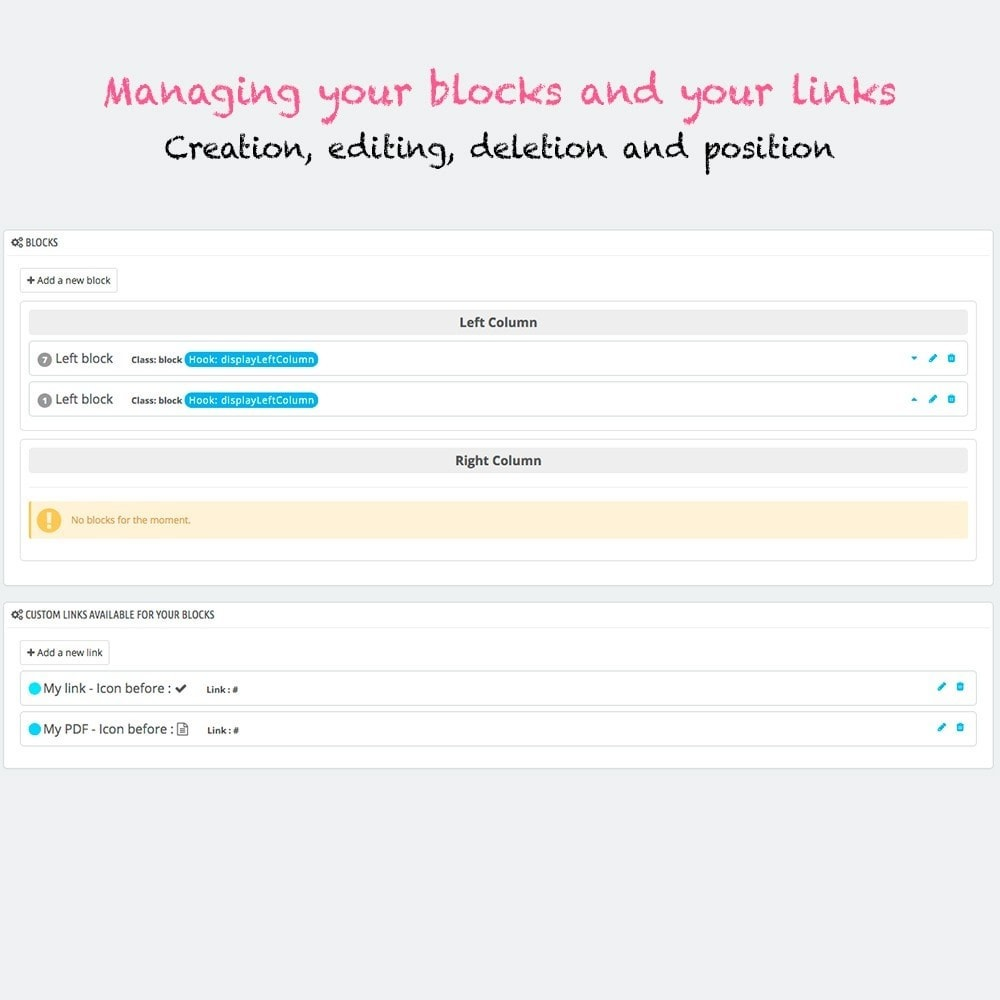 module - Blocks, Reiter & Banner - Multi blocks custom links - 2