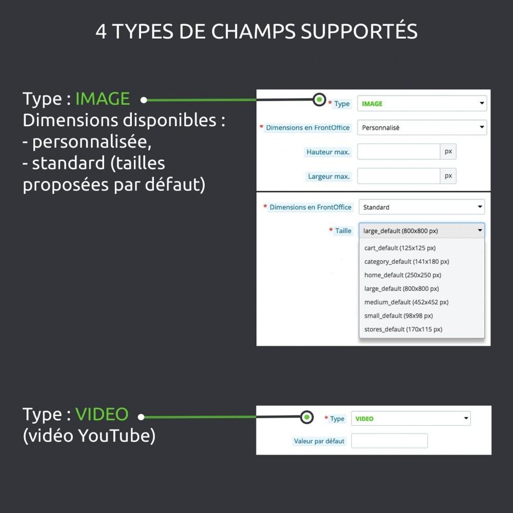 module - Information supplémentaire & Onglet produit - Champs personnalisés avancés : créer de nouveaux champs - 5