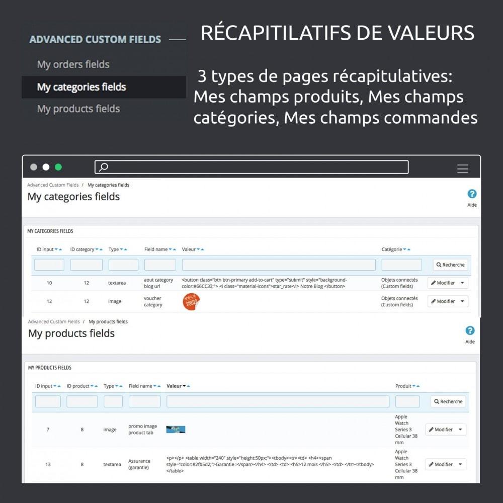 module - Information supplémentaire & Onglet produit - Champs personnalisés avancés : créer de nouveaux champs - 15