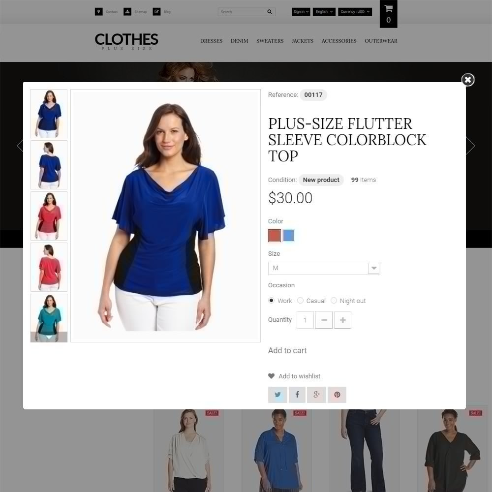Clothes Plus Size - шаблон на тему магазин одежды