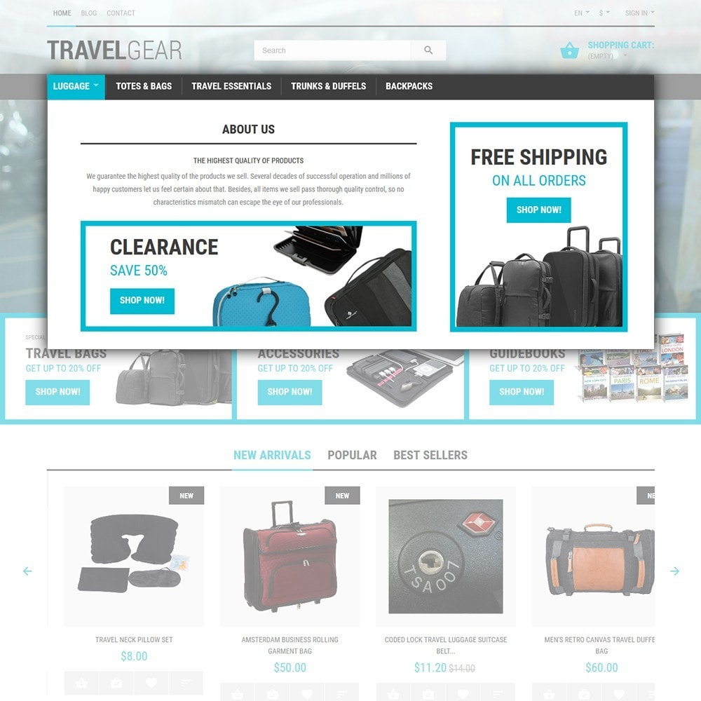 theme - Sport, Aktivitäten & Reise - Travel Gear - Travel Store Template - 4