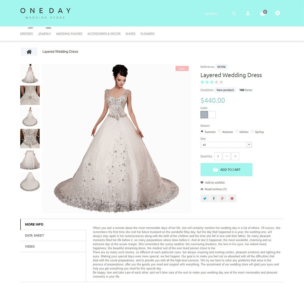 One Day - Wedding Shop Template