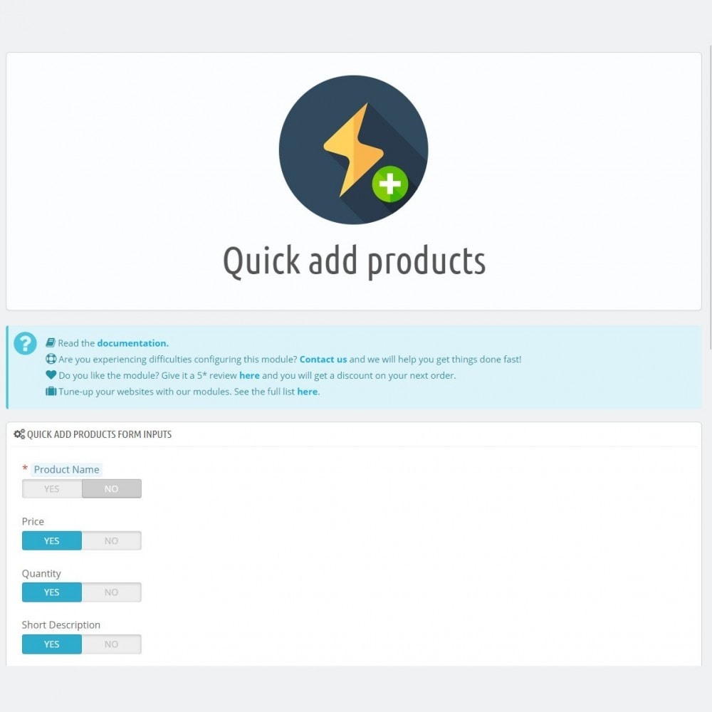 module - Fast & Mass Update - Quick add products - Create products faster and easier - 4