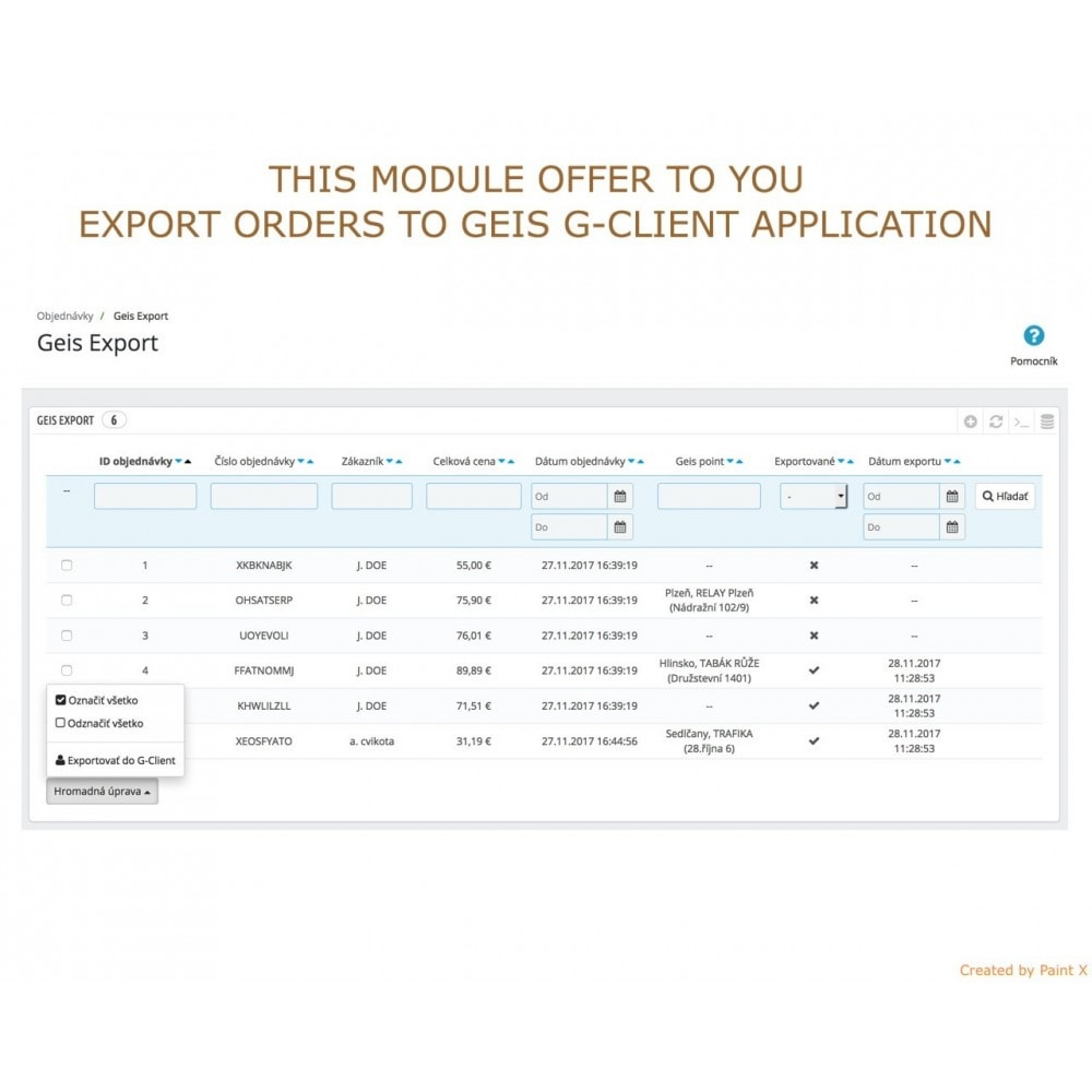 module - Pontos de retirada & Retirada na loja - Geis Orders Export and Geis Points Display to CZ and SK - 2