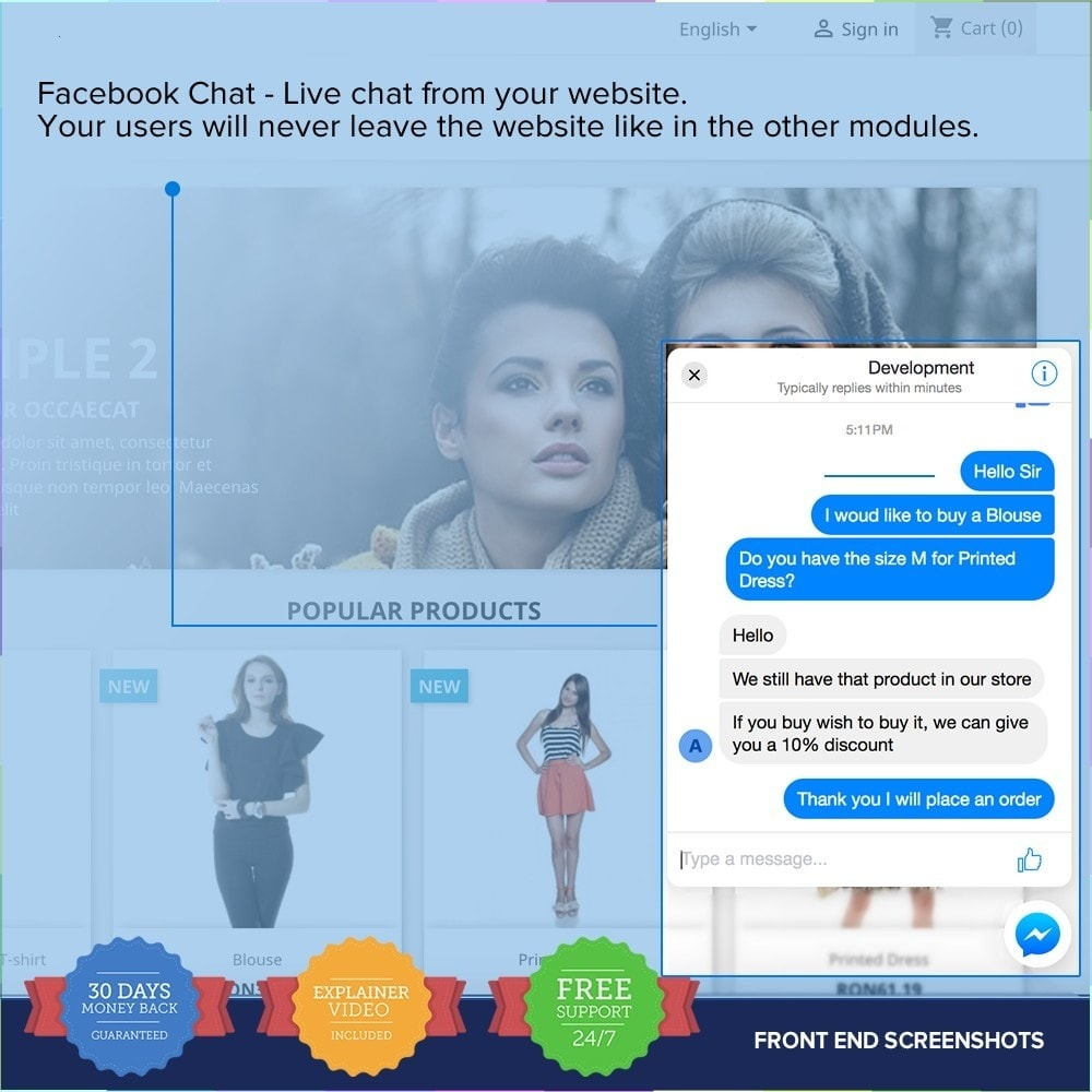 module - Support & Online-Chat - Social Live Chat - Desktop and Mobile - 2