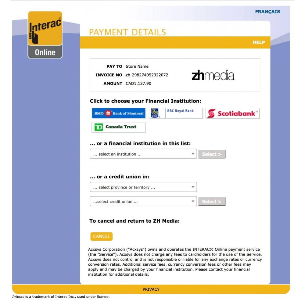 module - Pagamento por cartão ou por carteira - Moneris eSelect Plus INTERAC® Online - 2