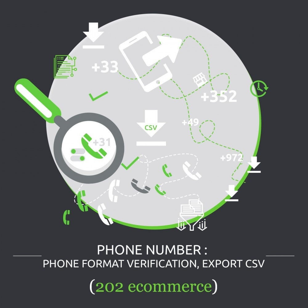 module - Import & Eksport danych (csv, pdf...) - Phone Number: international phone format, export csv - 1