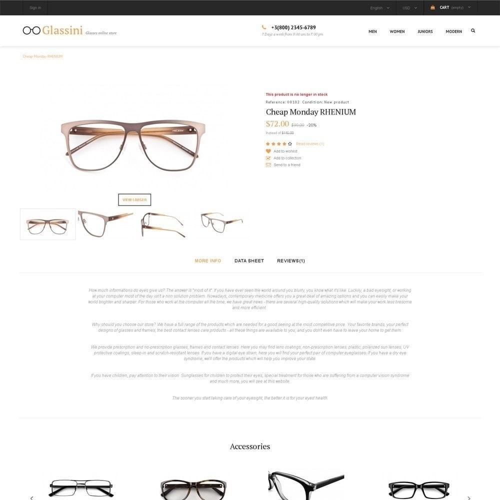 theme - Moda & Calzature - Glassini - per Un Sito di Occhiali da Vista - 4