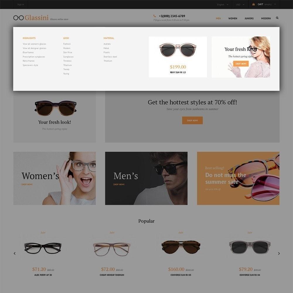 theme - Moda & Calzature - Glassini - per Un Sito di Occhiali da Vista - 7
