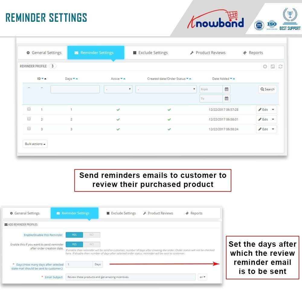 module - Comentarios de clientes - Knowband - Product Review Reminder and Incentives - 8