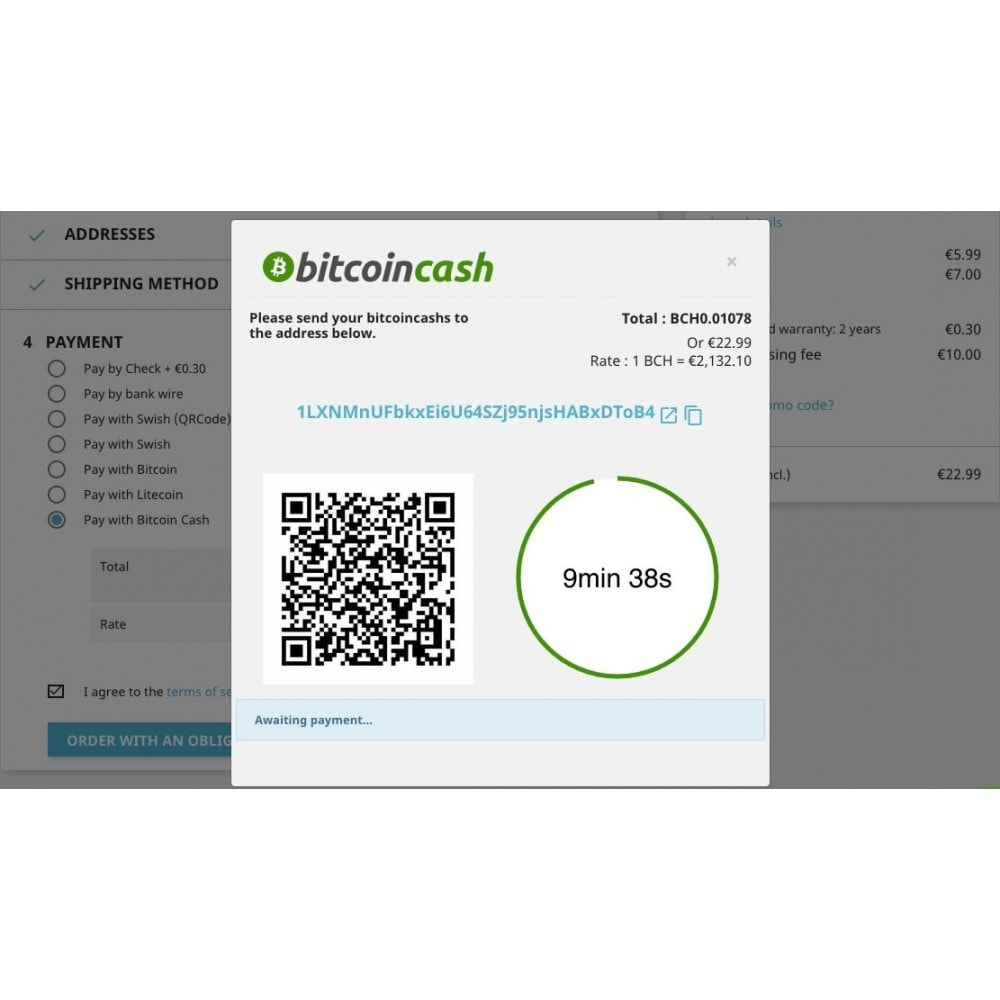 module - Other Payment Methods - Bitcoin Cash - Accept bitcoin directly into your wallet - 2