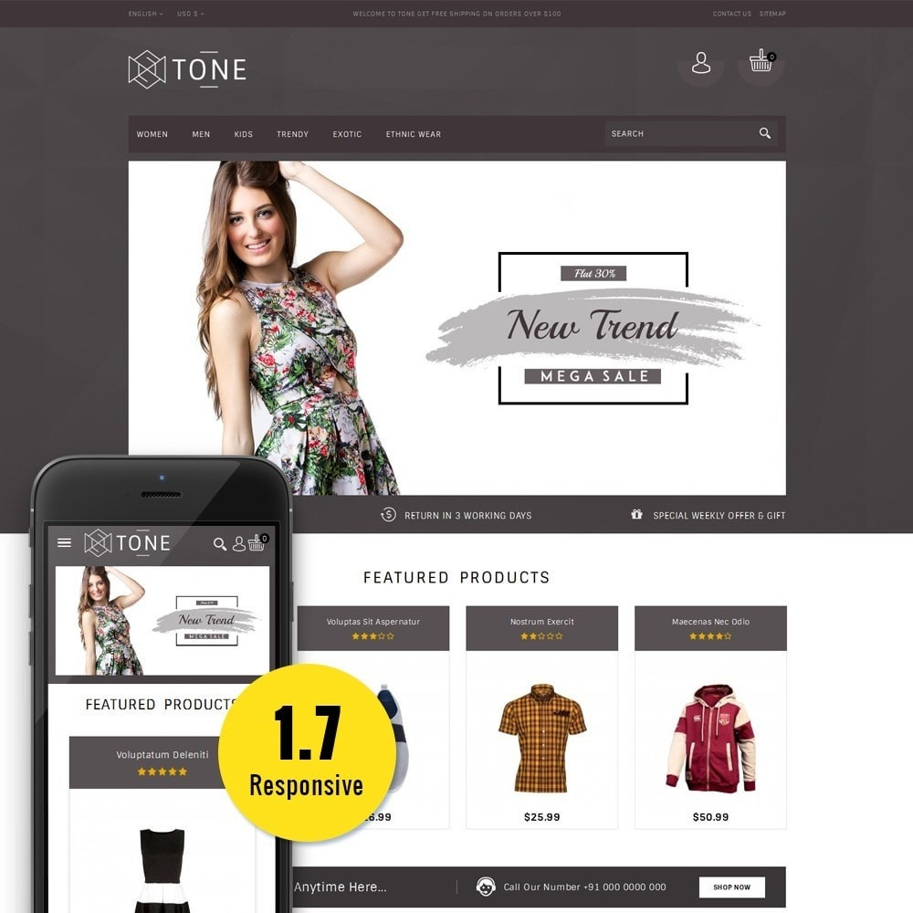 theme - Mode & Chaussures - Tone Fashion Store - 1
