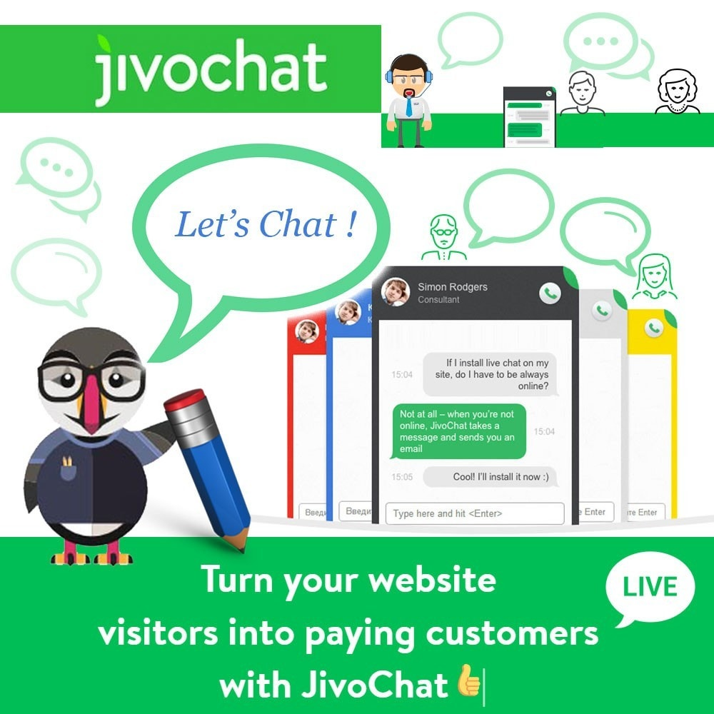 module - Support & Online Chat - Jivochat - Live chat with your customers - 1