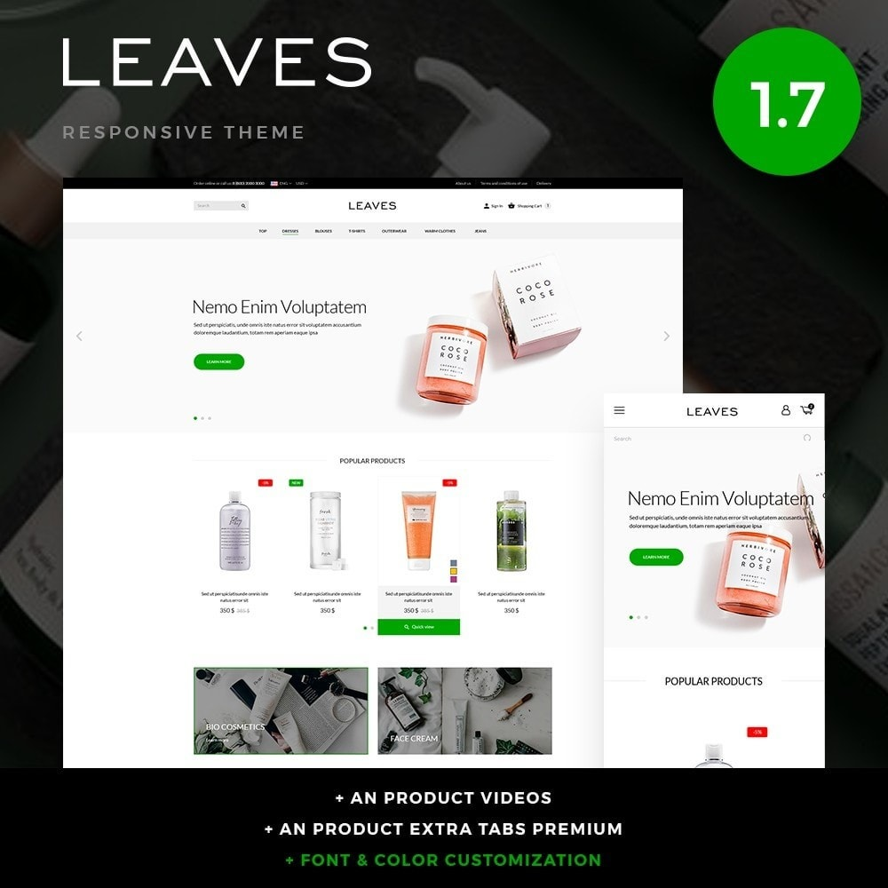 theme - Santé & Beauté - Leaves Cosmetics - 1