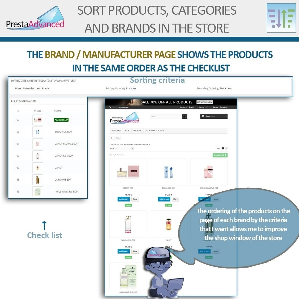 module - Personalisering van pagina's - Sort products, categories and brands in the store - 11