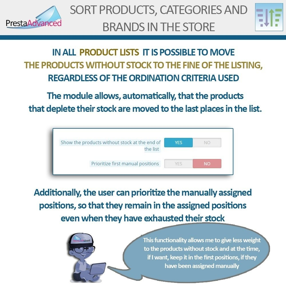 module - Personalizacja strony - Sort products, categories and brands in the store - 12
