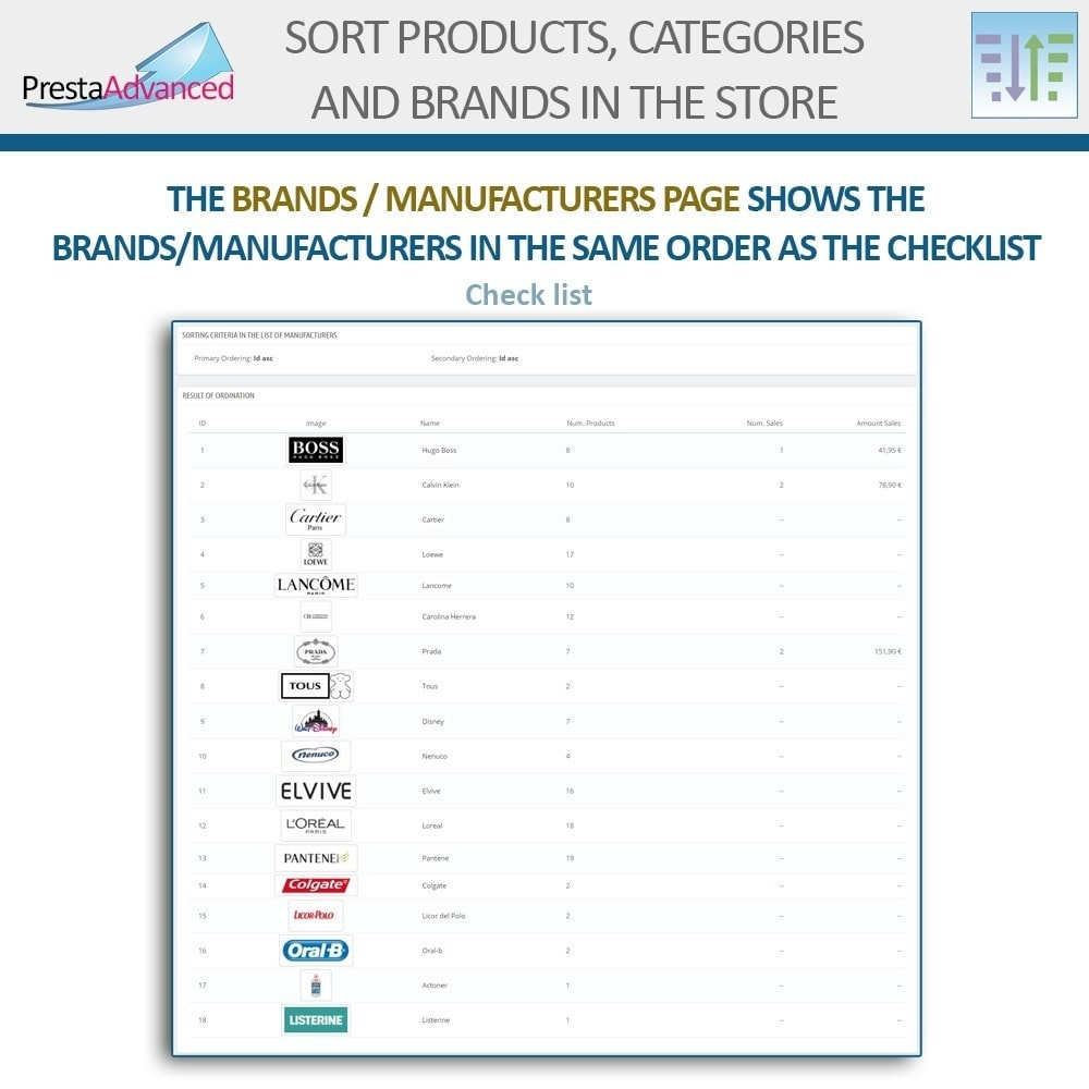 module - Page Customization - Sort products, categories and brands in the store - 17
