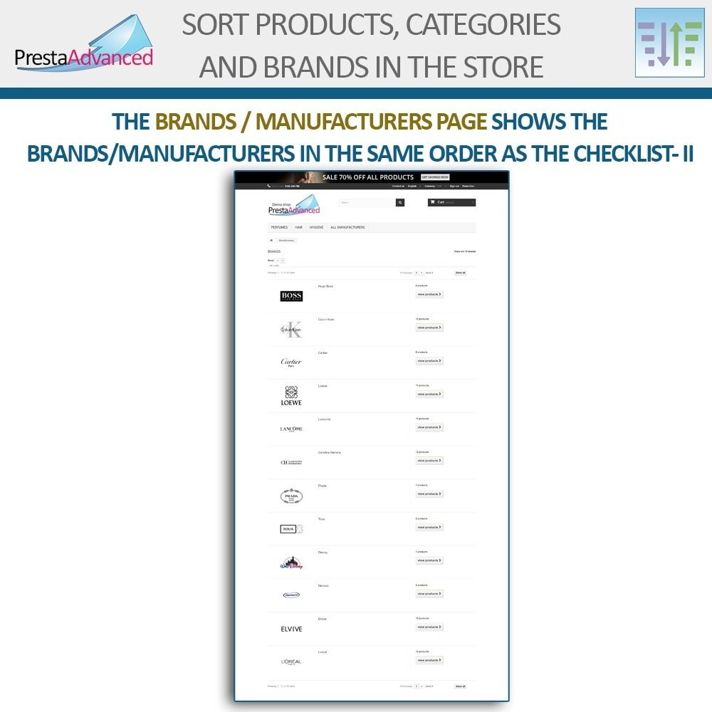 module - Personalizacja strony - Sort products, categories and brands in the store - 18