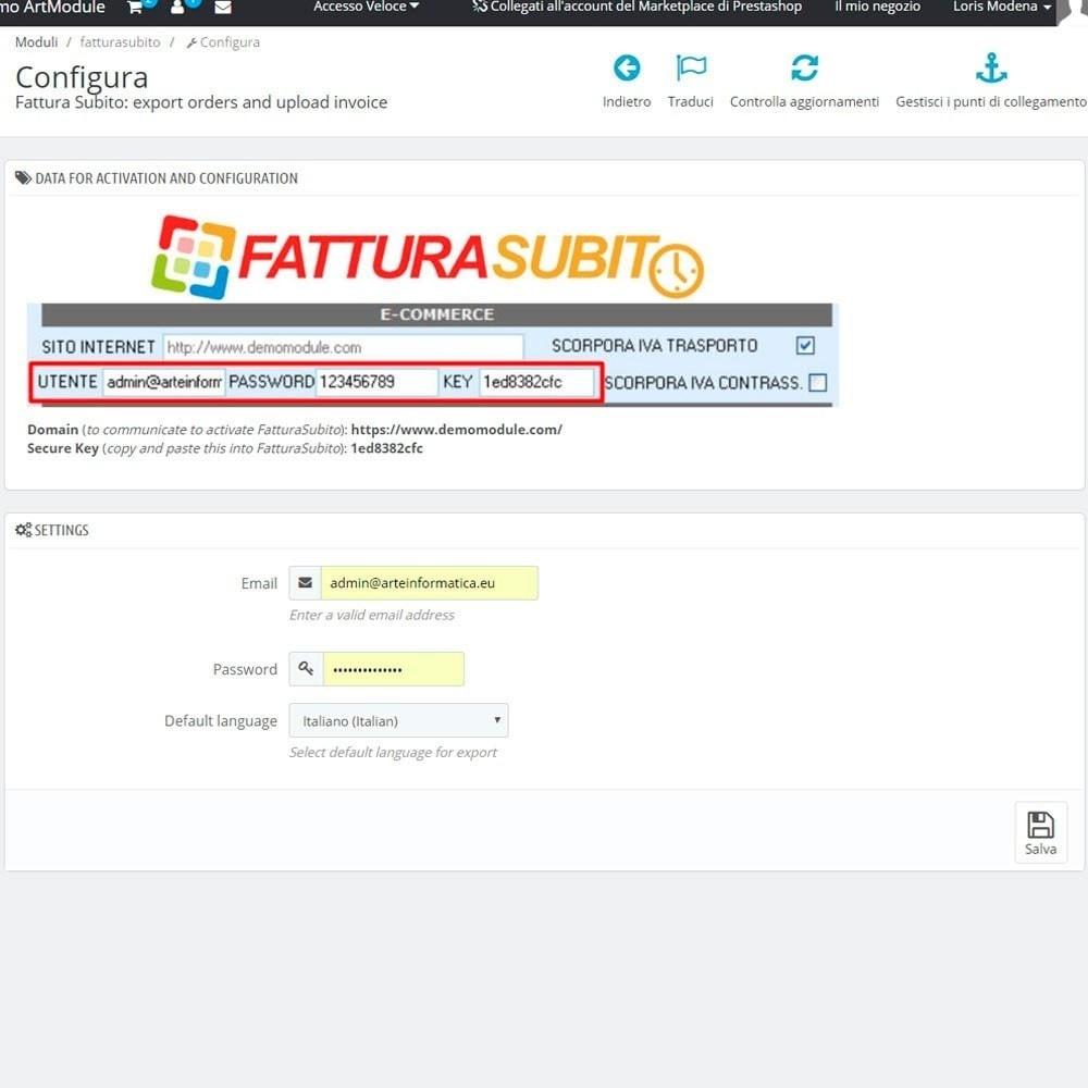 module - Contabilità & Fatturazione - Bridge FatturaSubito: importazione ordini e upload fta - 4