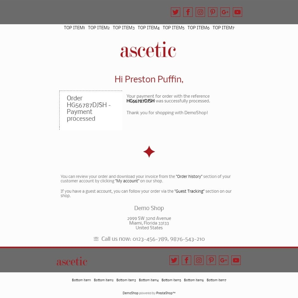 email - PrestaShop email templates - Ascetic - Email templates - 3
