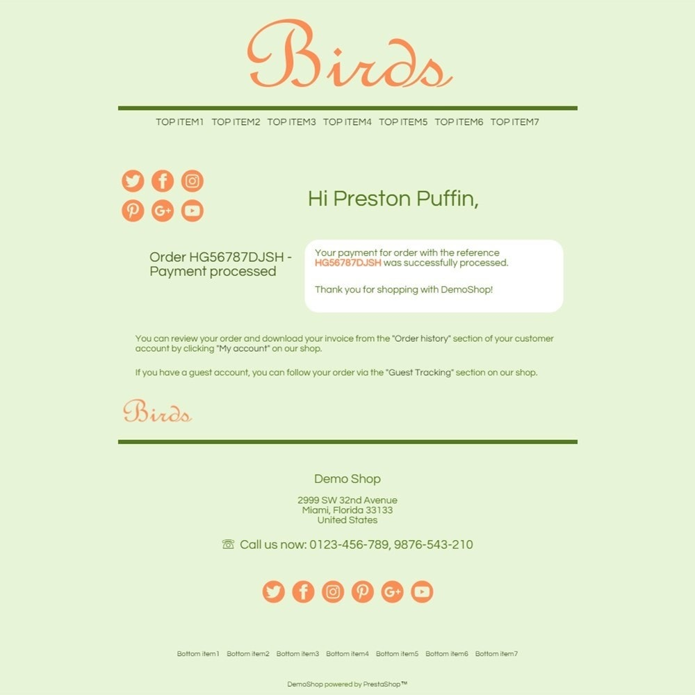 Birds - Email templates