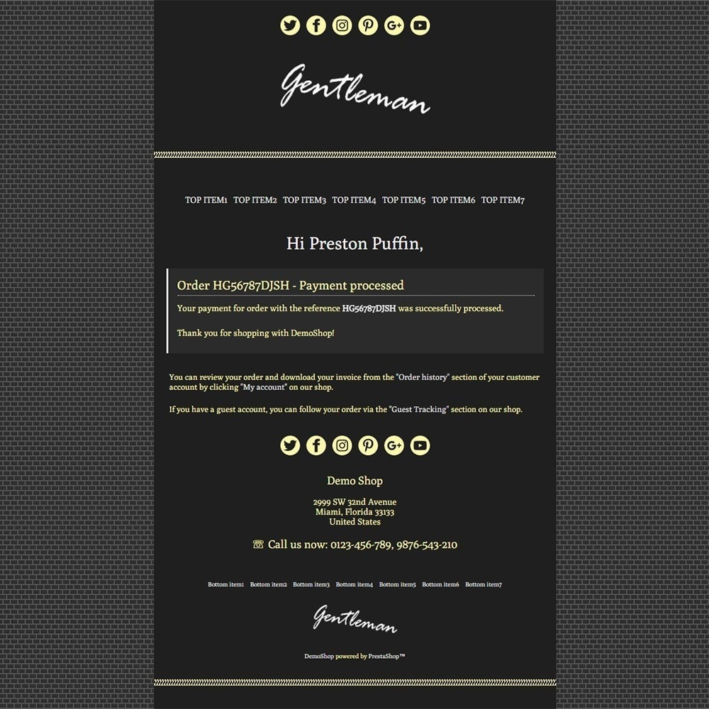 email - PrestaShop email templates - Gentleman - Email templates - 3