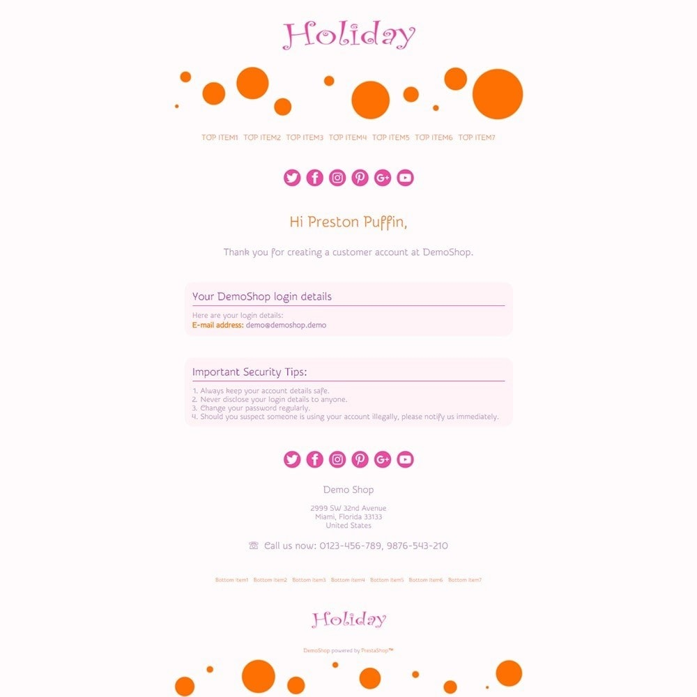 Holiday - Email templates