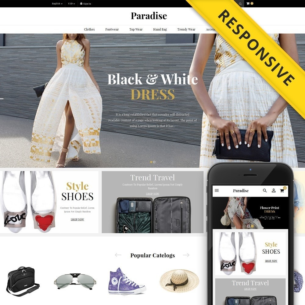 theme - Fashion & Shoes - Paradise - Multi Fashion Store - 1